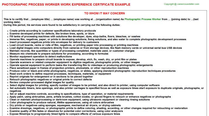 photographic process worker experience letter template
