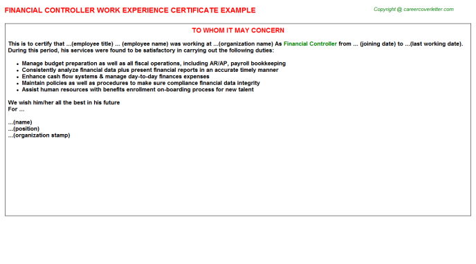 financial controller experience letter template