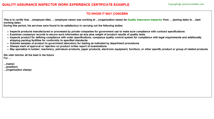 Quality Assurance Inspector Experience Letter Template