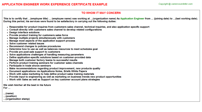Application Engineer Experience Letter Template