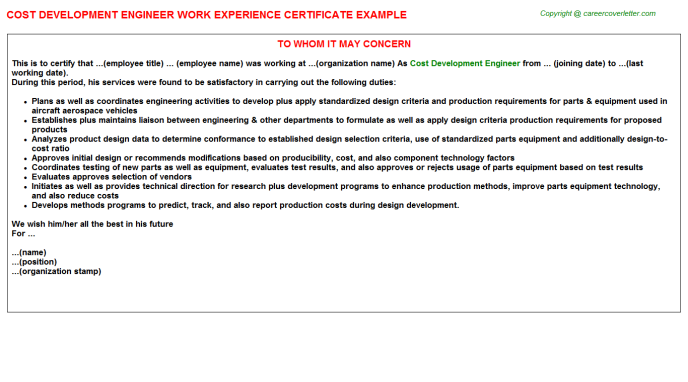 Cost Development Engineer Work Experience Letter Template