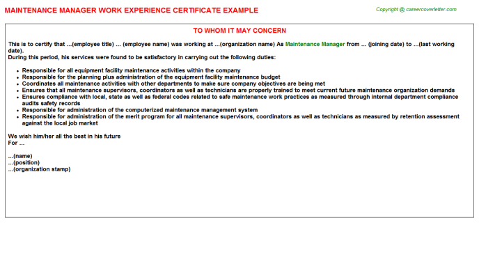 Maintenance Manager Work Experience Certificate Template
