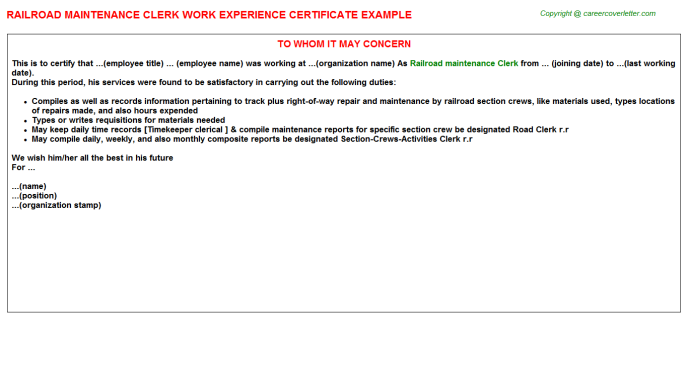 railroad maintenance clerk experience letter template