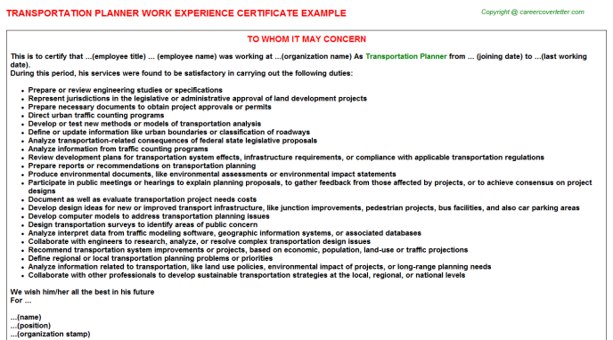 Transportation Planner Experience Certificate Template