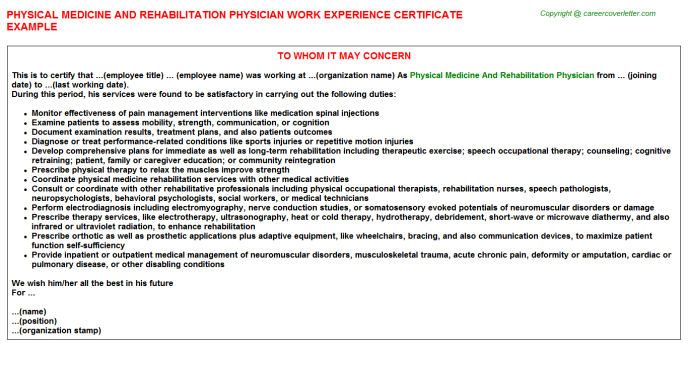 Physical medicine and rehabilitation physician work experience letter (#24780)