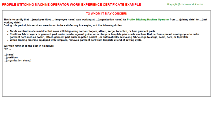 profile stitching machine operator experience letter template