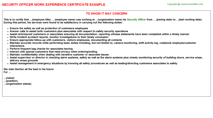 Security Officer Work Experience Certificate Template