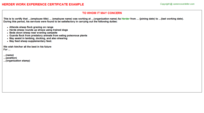 Herder Experience Letter Template