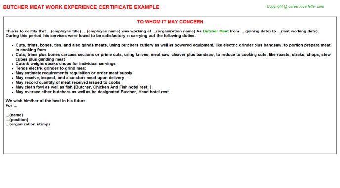 butcher meat work experience letter