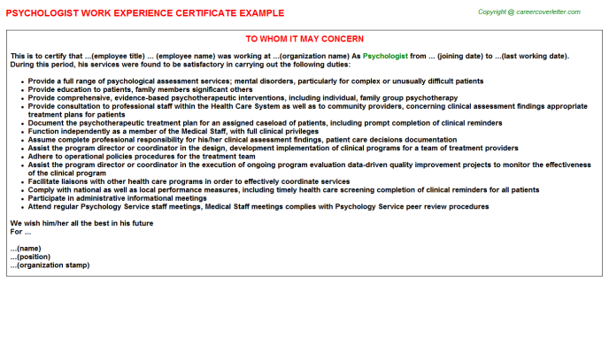 Psychologist Experience Letter Template