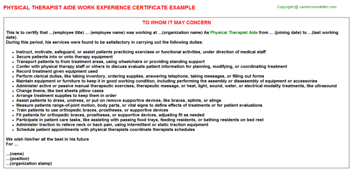 Physical therapist aide work experience letter (#24784)