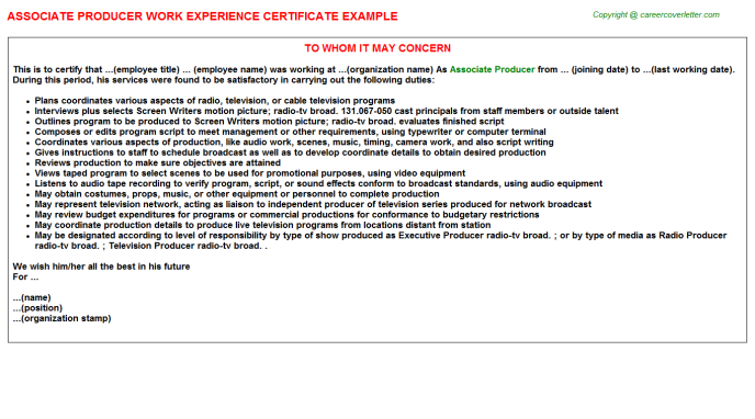 Associate Producer Experience Letter Template