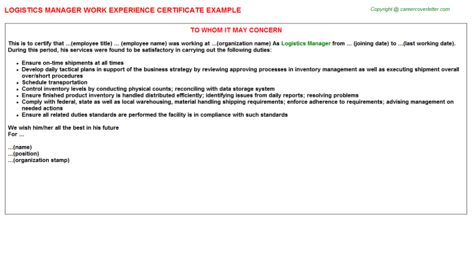 Logistics Manager Experience Letter Template