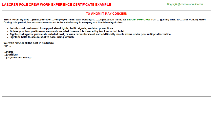 Laborer Pole Crew Experience Letter Template