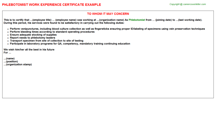 Phlebotomist Experience Letter Template