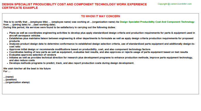 Design Specialist Producibility Cost And Component Technology Work Experience Letter Template
