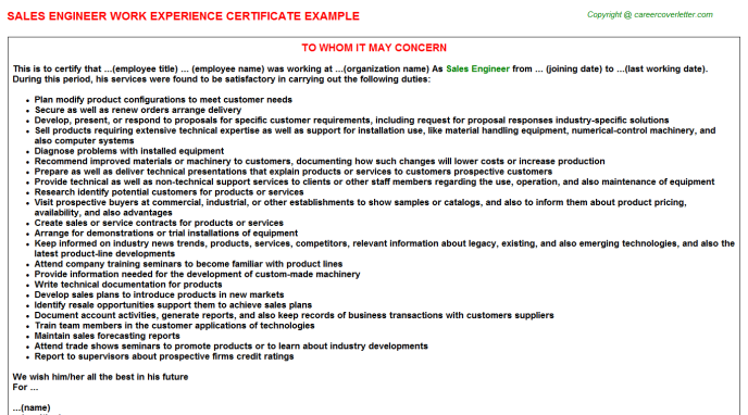 Sales Engineer Experience Letter Template