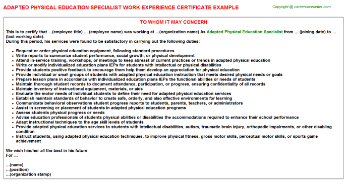 Adapted physical education specialist work experience letter (#23290)