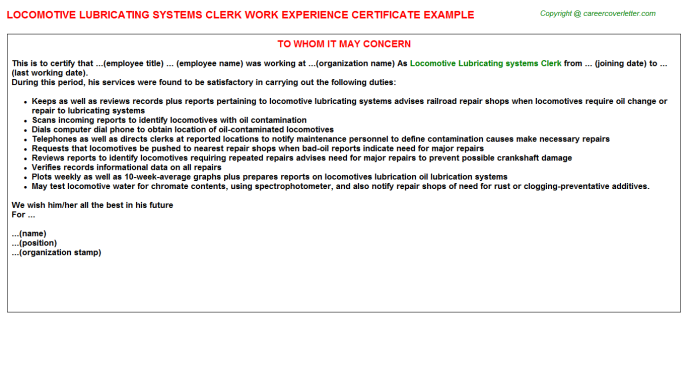 Locomotive Lubricating systems Clerk Experience Letter Template