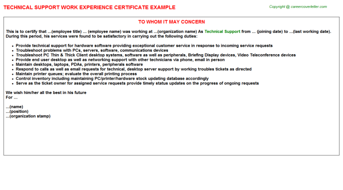 Technical Support Experience Letter Template