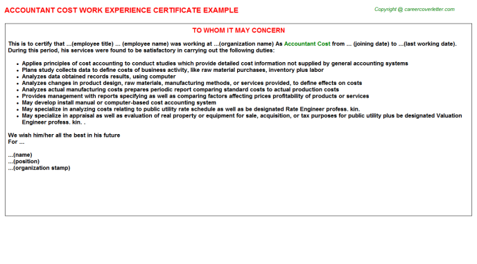 Accountant Cost Work Experience Letter Template