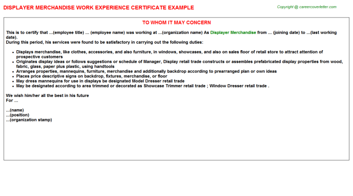 displayer merchandise experience letter template