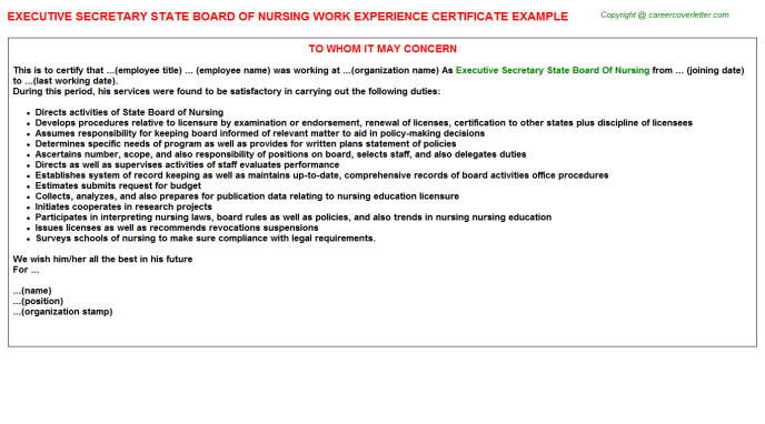 executive secretary state board of nursing experience letter template