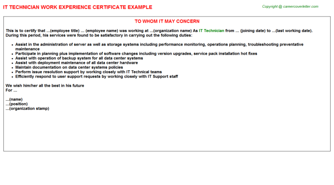 IT Technician Experience Letter Template