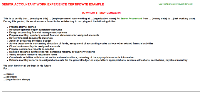 Senior Accountant Experience Letter Template