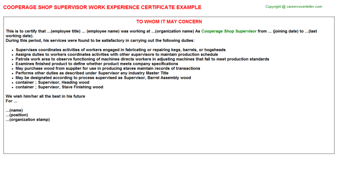 Cooperage Shop Supervisor Experience Letter Template