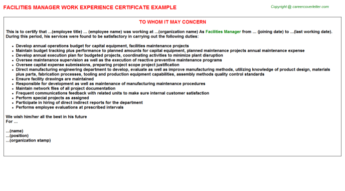 Facilities Manager Experience Letter Template