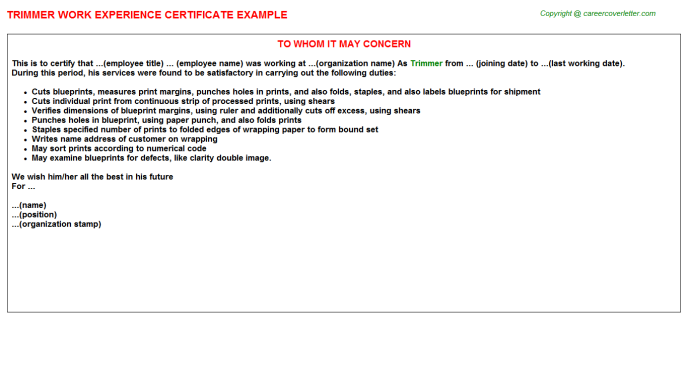 Trimmer Experience Letter Template
