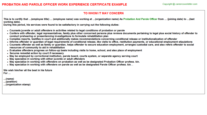 Probation And Parole Officer Work Experience Letter