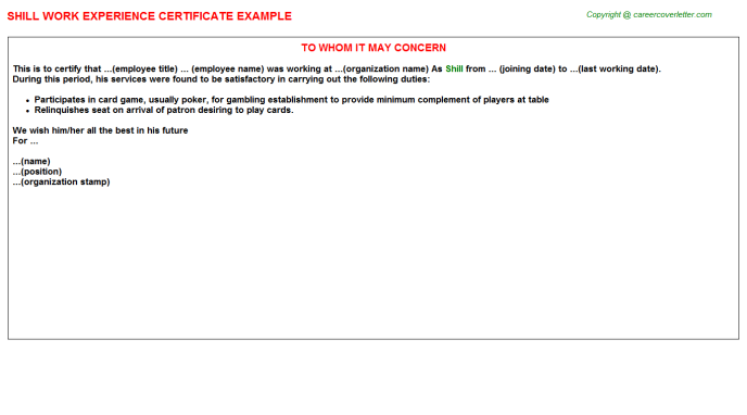 Shill Experience Letter Template