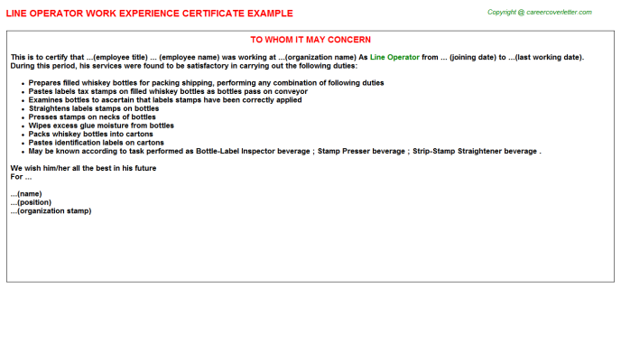 Line Operator Experience Letter Template