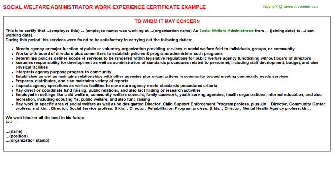 social welfare administrator experience letter template