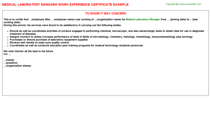 Medical Laboratory Manager Work Experience Letter