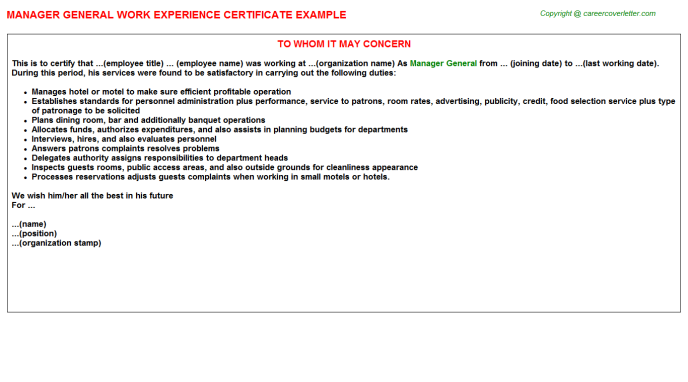 Manager General Work Experience Certificate Template