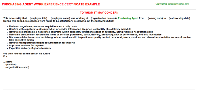 Purchasing Agent Work Experience Letter Template
