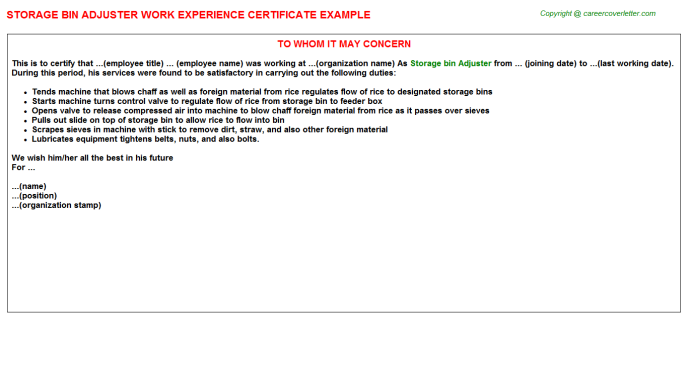 storage bin adjuster experience letter template