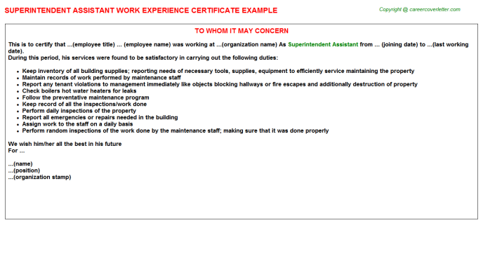 Superintendent Assistant Experience Certificate Template