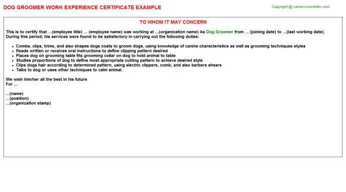 Dog Groomer Experience Letter Template