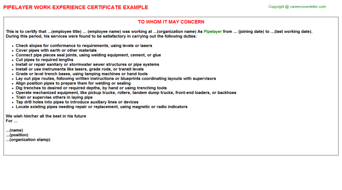 Pipelayer Experience Certificate Template