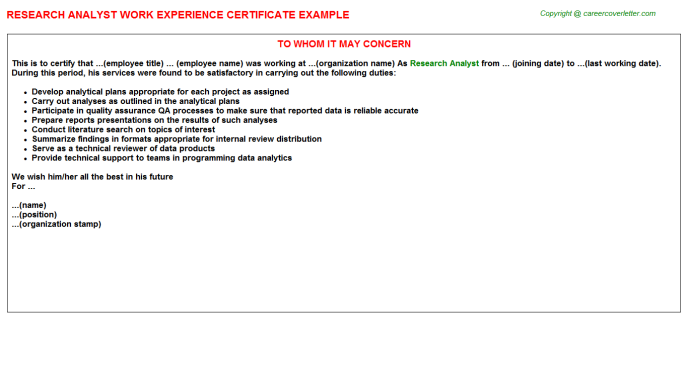 Research Analyst Experience Letter Template