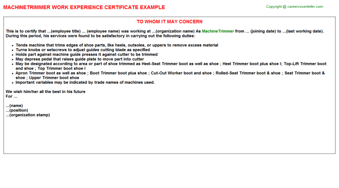 Machinetrimmer Experience Letter Template