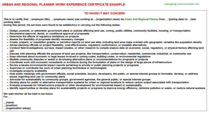 Urban And Regional Planner Experience Letter Template