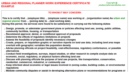 Urban And Regional Planner Work Experience Letter Template