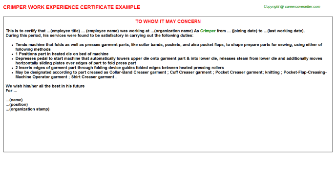Crimper Experience Letter Template