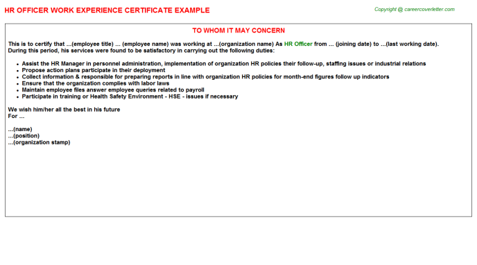HR Officer Work Experience Certificate Template