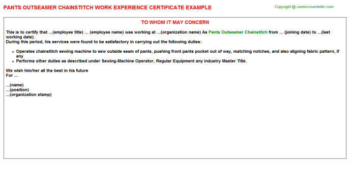 Pants Outseamer Chainstitch Experience Letter Template